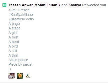 Kaafiya retweets my poem... four short poems on peace