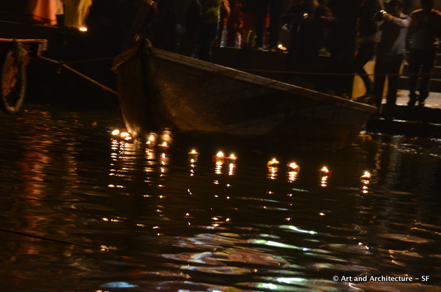 candles floating down the Ganges