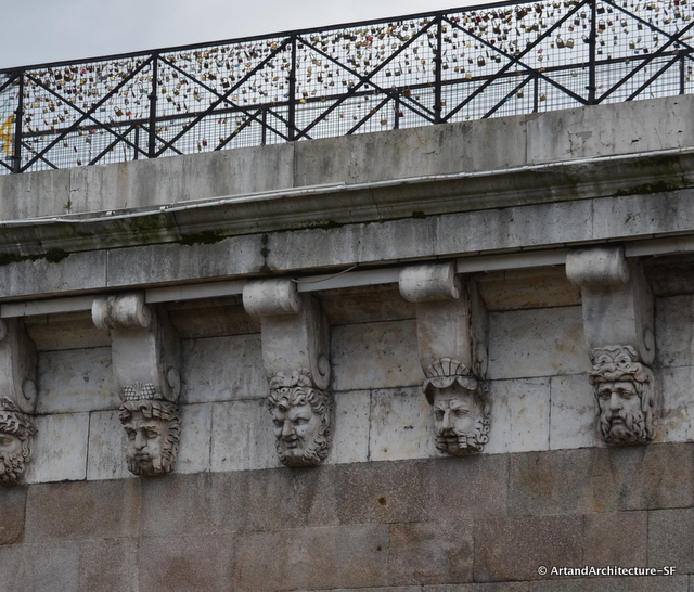"""There are 381 of these """"mascarons"""" on the Pont Neuf. Their function is to scare away evil spirits."""