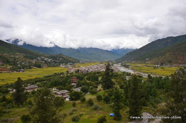 A view of Paro from a window in the dzong.