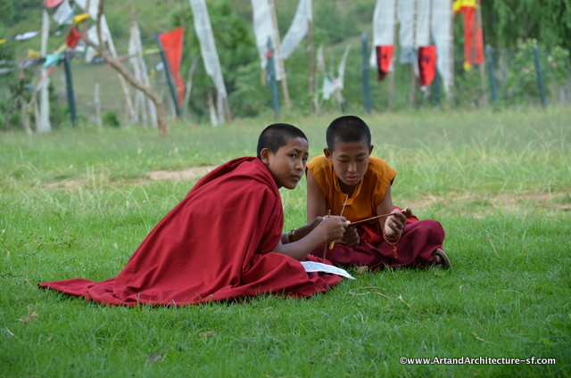 Monks reading at the monastery