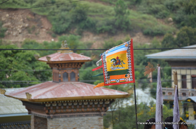 The Wind Horse prominently displayed on a prayer flag.