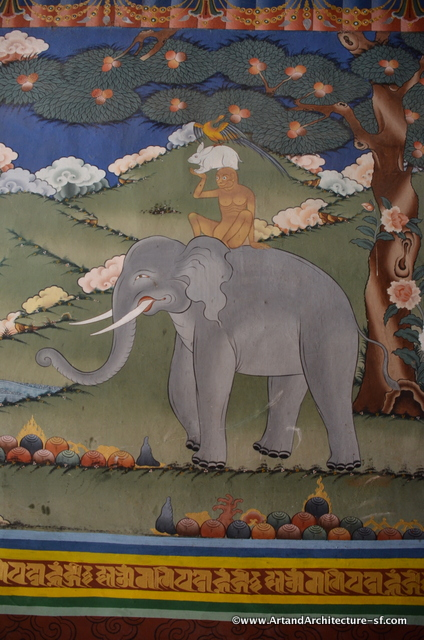 This is the story of the Four Harmonious Friends. It is found everywhere in Bhutan. The image is of a bird, rabbit and monkey standing on each others shoulders and then they all stand on the back of an elephant. It is the epitome of social harmony. It is said that the bird finds a seed and plants it, the rabbit waters it, the monkey fertilizes it, and once it has sprouted and grown the elephant protects it. By working together they all are able to reach and enjoy the fruit.