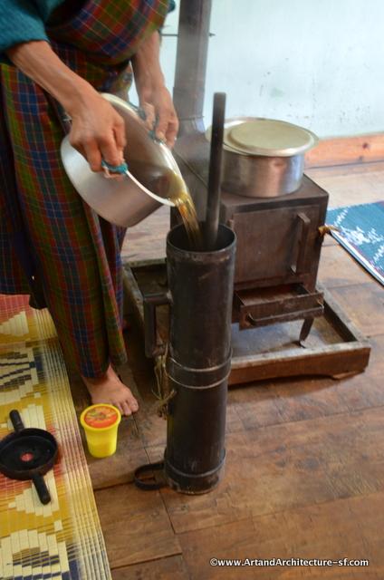 Making butter tea