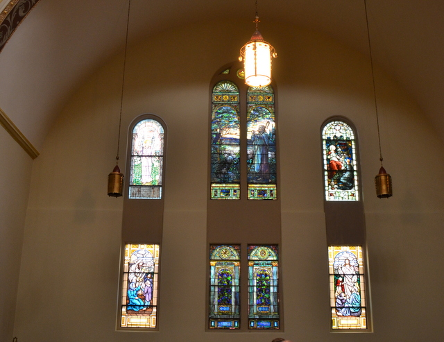 The church is filled with Tiffany Windows