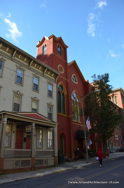 The Mauch Chunk Historical Society resides in the old church on the right