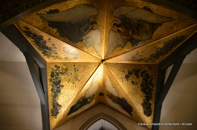 Ceiling above the baptismal font in the original chapel