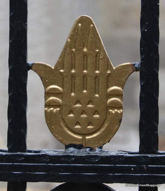 You will find the symbol everywhere, including in this wrought iron fence along the metro
