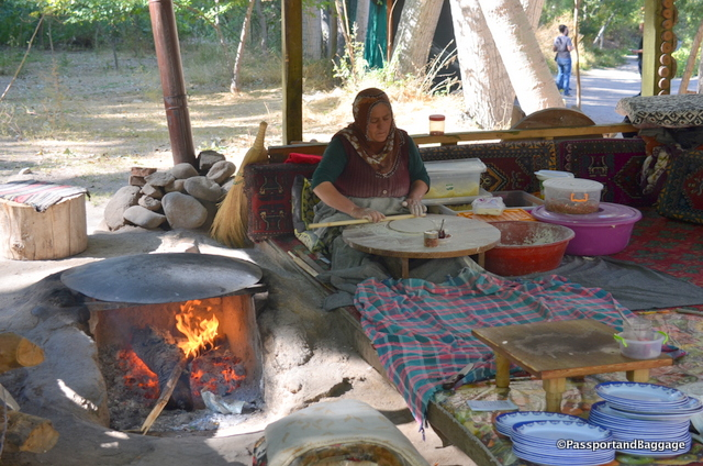 A woman preparing food at one of the tea houses