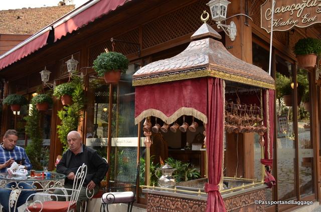 A sidewalk Turkish Coffee Vendor