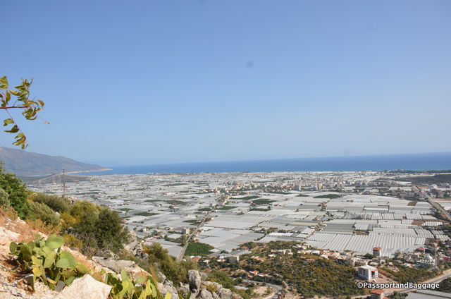 Looking down towards the Mediterranean and the greenhouses that cover the land
