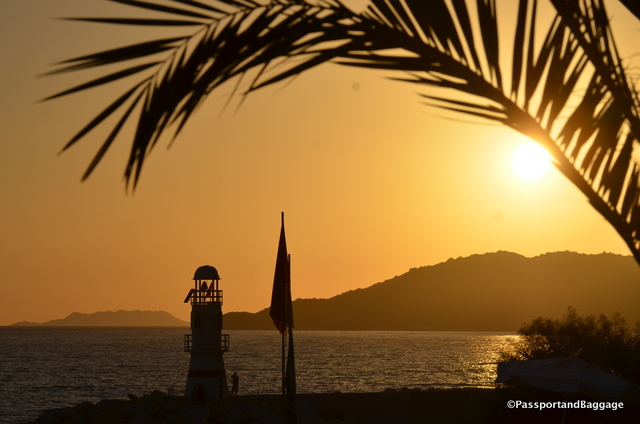 Sunset over the lighthouse of Kaş