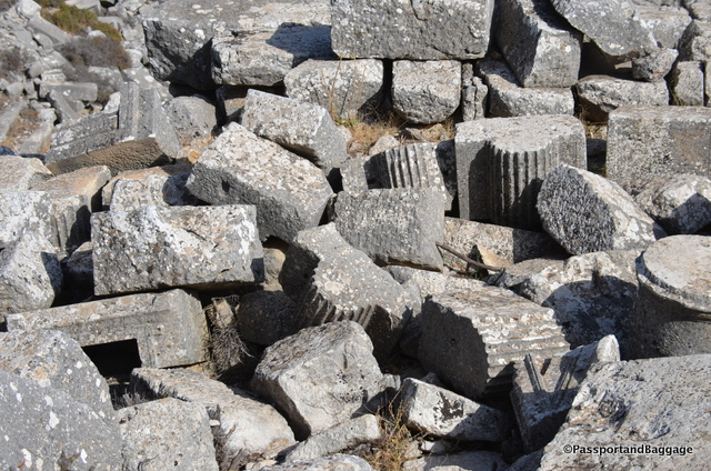Fallen bits and pieces of columns and column capitals.