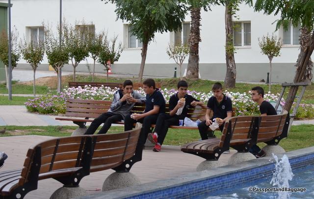 Boys break from school and enjoy kebab