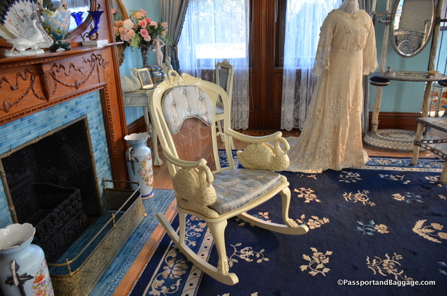 Her rocking chair was decked with swans, and many small sculptures of swans, and a painting over the fireplace can be found throughout the room.