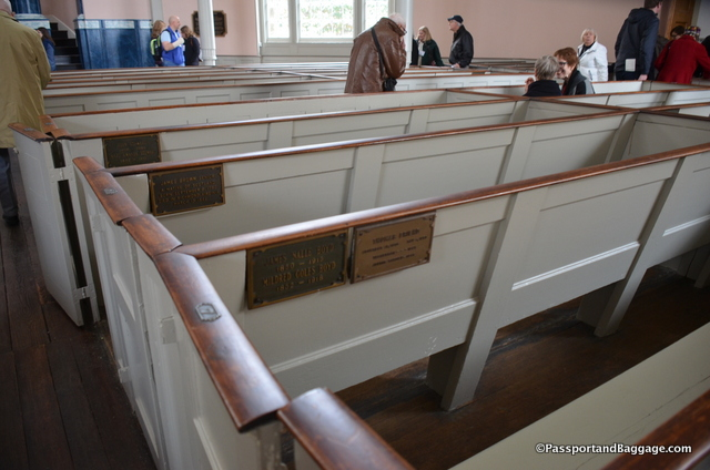 "The original pews would have been approximatelu 18"" higher allowing privacy, they were cut down in the Victorian age, however, so may famous people have sat in the, including Edgar Allen Poe, Lafayette and others, they are of historical importance and must remain as part of the structure."