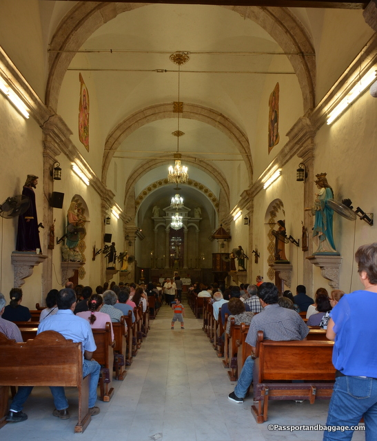 Evening service in the downtown church of El Fuerte, Mexico