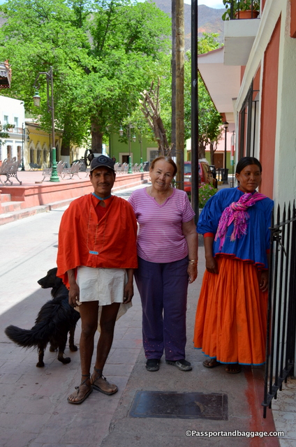 A Tarahumara couple, he is in the traditional dress of the male. The woman in the middle is Juanita from Juanita's Hotel in Batopilis