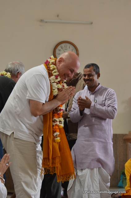 Nelson being honored at the Buddhist temple in Lucknow