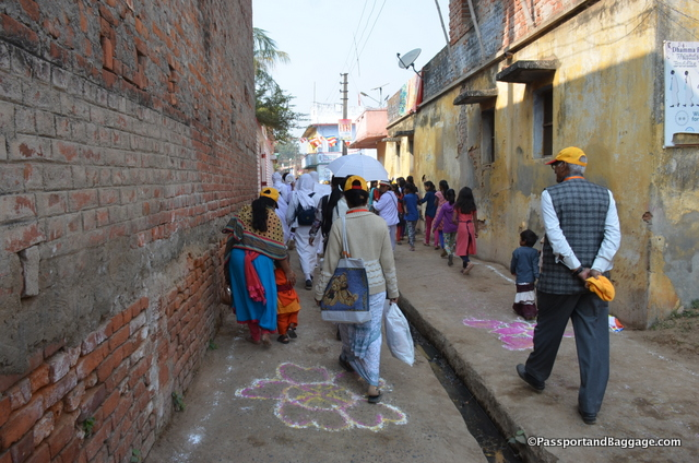 The streets were decorated in bright chalk patterns to welcome the pilgrims