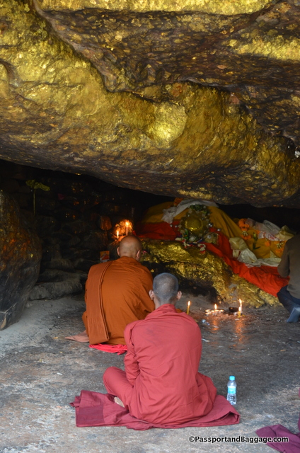 One of the two caves along the path with Buddhist images. It is thought Buddha used these caves for meditation.