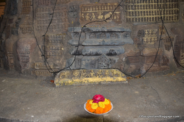 Small Buddhas embedded in just one of many votive stupas inside the Mahabodhi temple complex