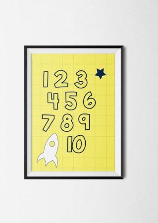 poster cijfers geel astronaut