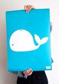 poster-kinderkamer-decoratie-muur-blauw-walvis