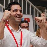 Sagredo celebra los resultados en la sede del PSOE