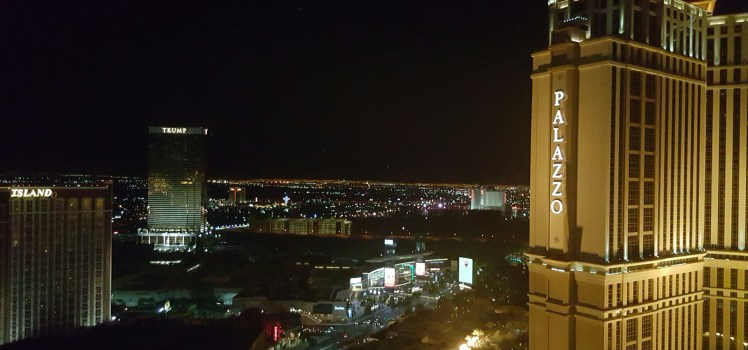View from our suite on the 36th floor of the Venetian. The Palazzo is the sister property.