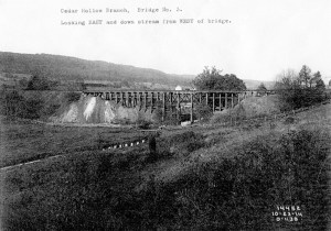 former trestle across Valley Creek, with nothing but farmland in sight (foreground is now the OLC Cool Valley Preserve);