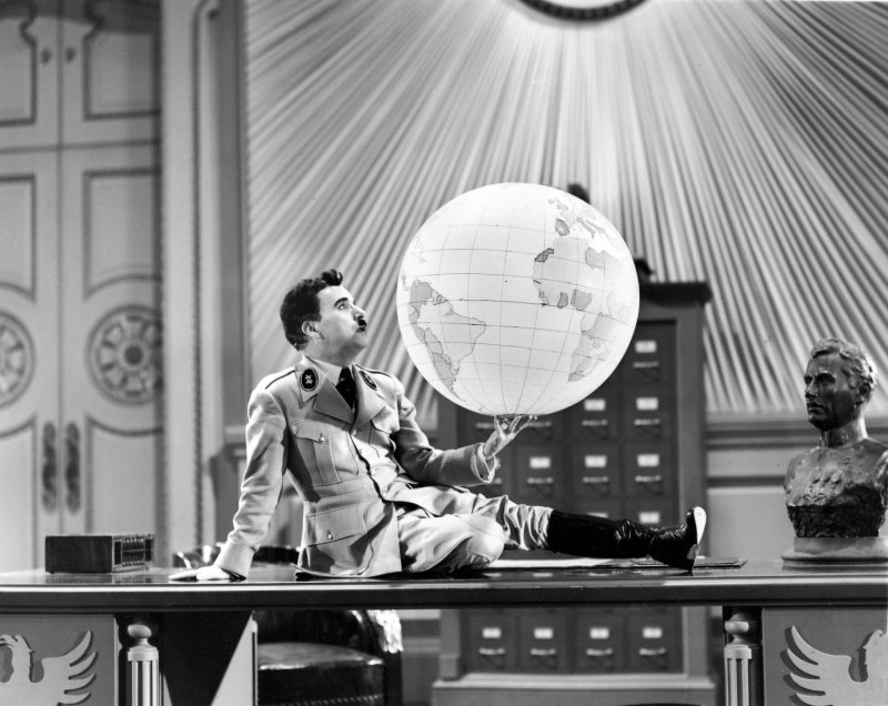 A scene from Charlie Chaplin's The Great Dictator