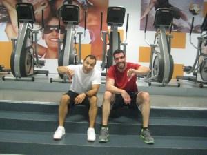 Paulo Sena e Sérgio Rodrigues após o treino.
