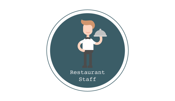 Illustration of a member of restaurant staff as part the discussion around tipping in UK restaurants