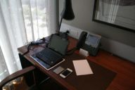 Work desk in Crown Towers hotel room