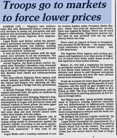 1983 Article Of How DICTATOR Buhari used his soldiers to brutalize Traders and force them to lower the prices of their Commodities