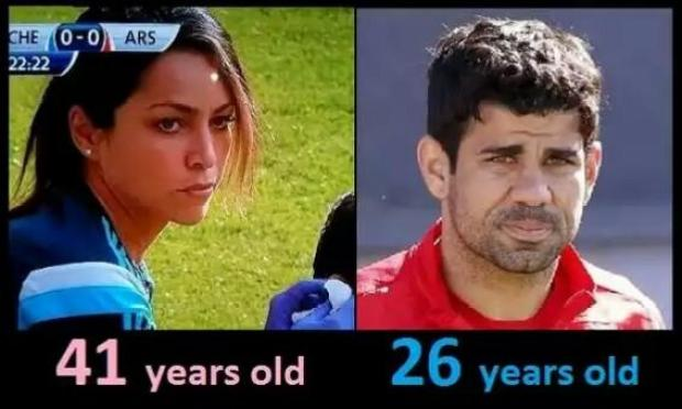 Bzk1FXuCIAA21ND Chelseas Diego Costa is 26 years old. Eva Carneiro is 41. But look at their faces [Pictures]