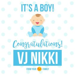 Mutable Congratulations To Vj Has Given Birth To A Healthy Babyboy Congratulations To Vj Has Given Birth To A Congratulations On Your Baby Boy Islamic Congratulations On Your Baby Boy Christian