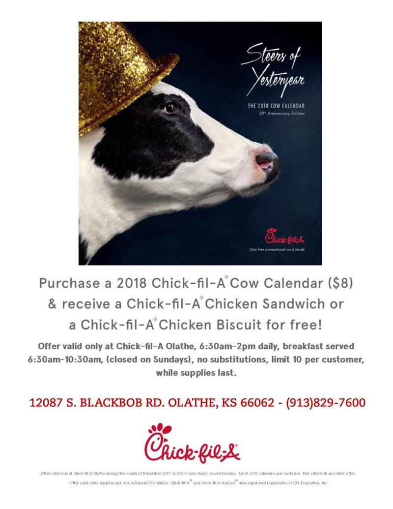 Large Of Chick Fil A Cow Calendar