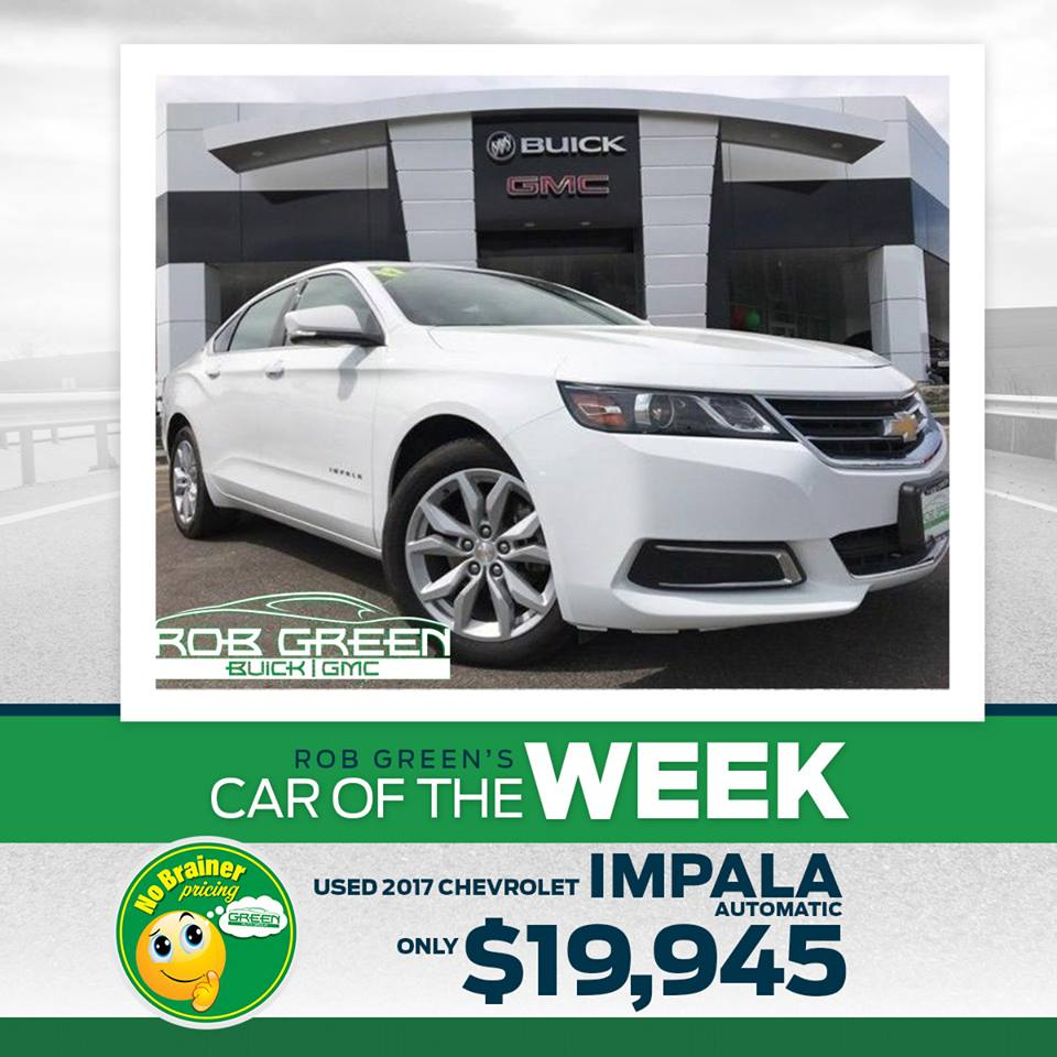 Rob Green Buick GMC   RobGreenGMC1    Twitter This Car of the Week is one you can t beat  a 2017  Chevy Impala  Miles   28 057 Price   19 495 Exterior Color  White Interior Color  Jet Black Learn  more