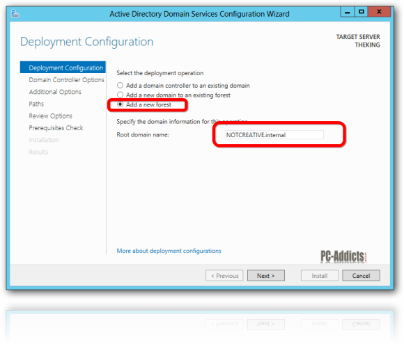 Server 2012 Deployment Configuration