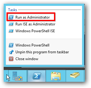 Server 2012 Run as Administrator PowerShell