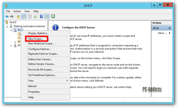 Server 2012 DHCP New Scope