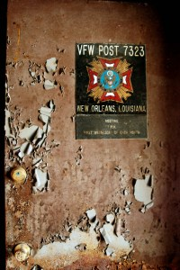 destroyed door of veteran meeting point