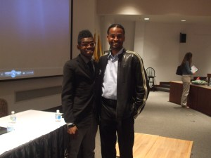 Ewing student, Quenten Couch with Dare to Dream Conference MC, LeDerick Horne