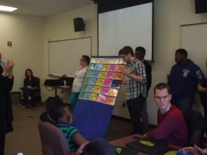 Ewing students presenting their Jeopardy Game at the Dare to Dream Conference