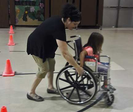 Kids experiencing what having a disability is like!