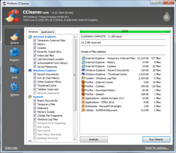 CClean2 Guide to Speed Up Internet Explorer