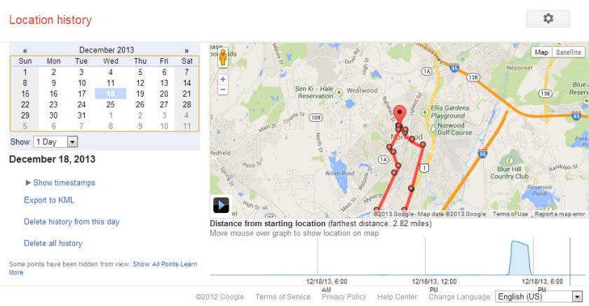 The Google Location History Screen