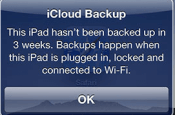 iPad Backup Message
